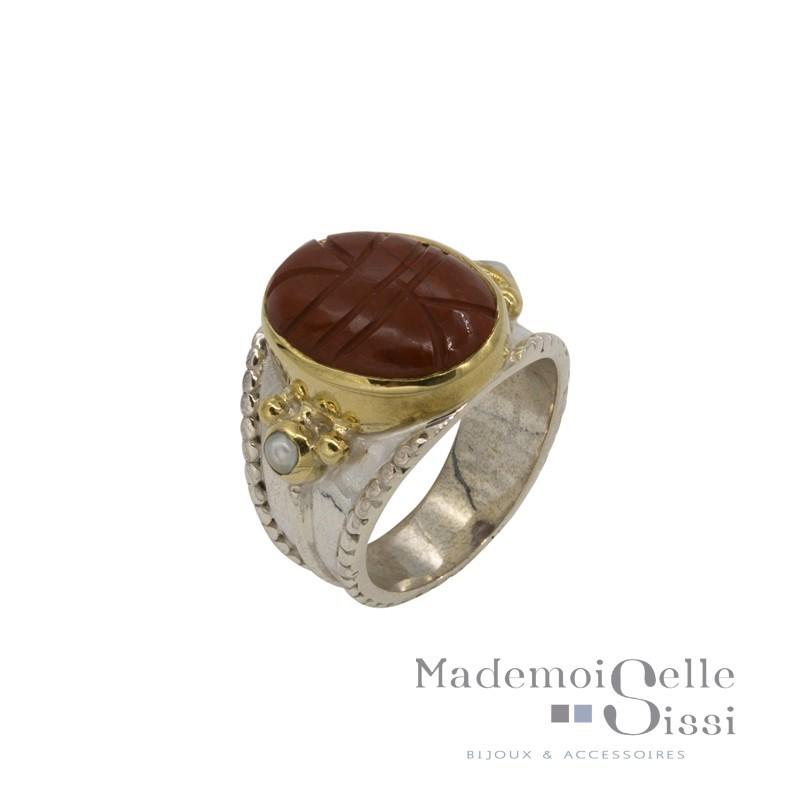 Bague large argent doré - Scarabée Jaspe rouge & Perles blanches