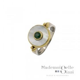 Bague fine Argent doré - Nacre blanche ronde & Petite Sillimanite verte
