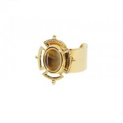 Bague large ajustable dorée Victoria - Anneau & Cabochon Oeil de Tigre