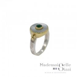 Bague Canyon - Bague fine Argent doré - Nacre blanche ronde & Petit brillant vert