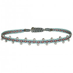 Bracelet cordon fin - Turquoise orange bleu & Perles Or rose