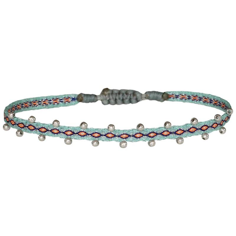 Bracelet cordon fin - Turquoise orange bleu & Perles Or rose
