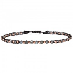 Bracelet cordon fin - Gris & Perles Or rose - LeJu London