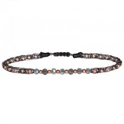 Bracelet cordon fin - Gris & Perles Or rose