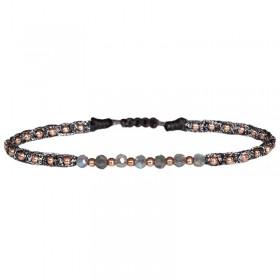 Bracelet cordon fin - Gris & Perles Or rose - LeJu London