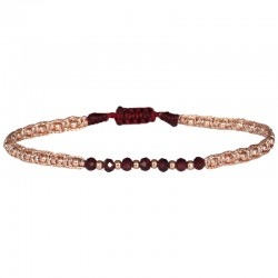 Bracelet cordon fin - Rose & Perles Or rose noir