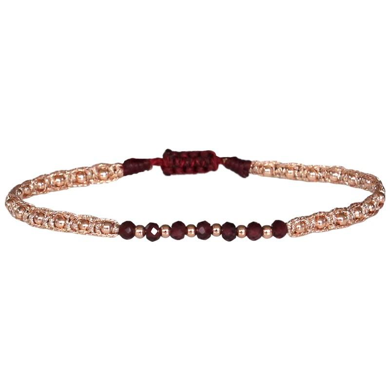 Bracelet cordon fin - Rose & Perles Or rose noir