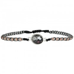 Bracelet cordon fin Gris - Perles Or rose & Quartz