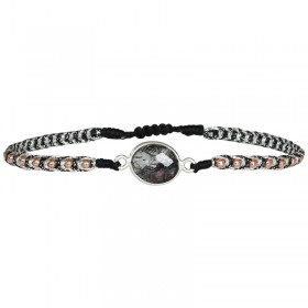 Bracelet cordon fin Gris - Perles Or rose & Quartz - LeJu London