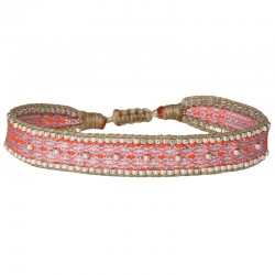 Bracelet cordon fin - Rose orange beige & Perles Argent