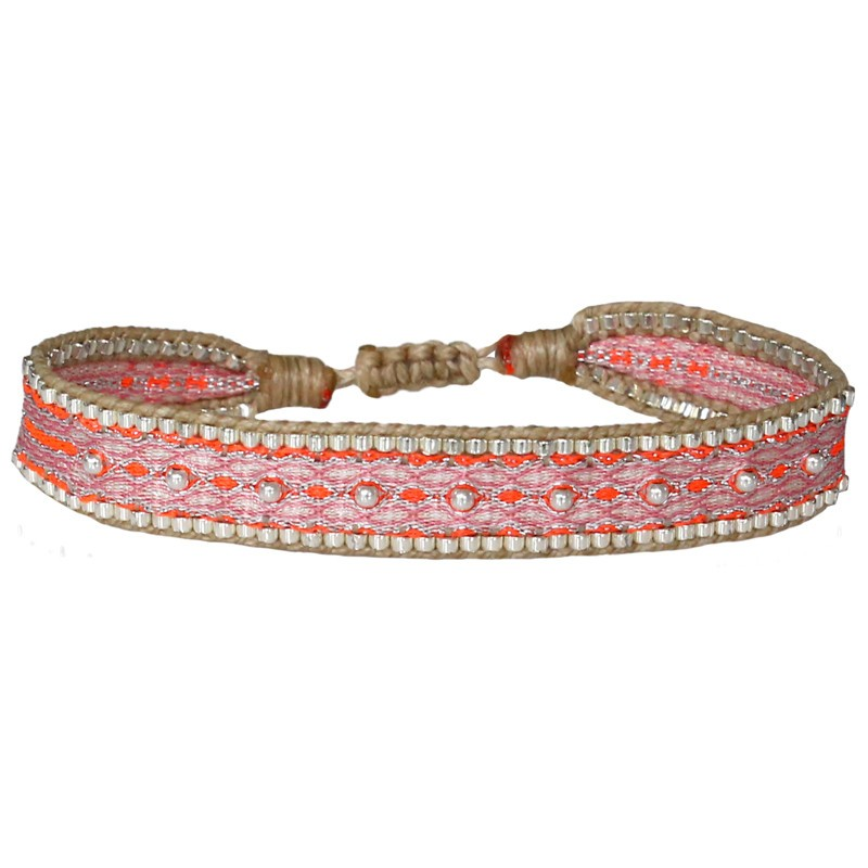 Bracelet cordon fin - Rose orange beige & Perles Argent - LeJu London