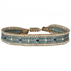 Bracelet cordon fin - Beige bleu orange & Perles Lapis argent