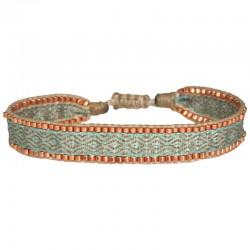 Bracelet cordon fin - Beige turquoise & Perles or rose