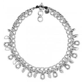 Collier Court MEJORANA - Cuir métal & Breloques maillons designs- CICLON -