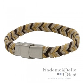 Bracelet Jonc large homme LOOP AND CO - Corde Tressée  beige marron jaune