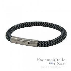Bracelet Jonc cordes homme - Tressé rond bleu blanc