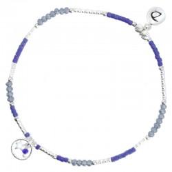 Bracelet élastique SHUFFLE BLEU Perles argent & Perles Miyuki bleu gris