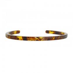 Bracelet Jonc fin LOVELY DAY - Demi-jonc en Acetate écaille marron