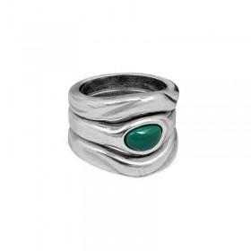 Bague Large métal multirangs HAZEL TURQUEZA & Décor turquoise design - CICLON -