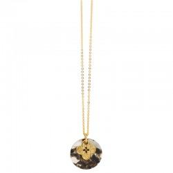 Collier Or chaîne fine - Médaille acétate blanc gris & Médaille Trèfle design