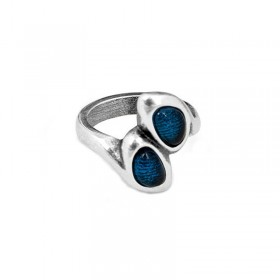 Bague métal CHICORI AZUL & Duo de pierres de Murano bleues - CICLON -