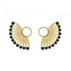 Boucles d'oreilles AWA Or - Puce & Décor éventail perles noires