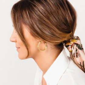 Boucles d'oreilles créoles Doré - Anneaux saccadés designs