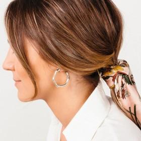 Boucles d'oreilles créoles tout métal - Anneaux saccadés designs