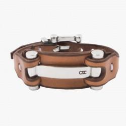 Bracelet Manchette Argent - Cuir camel & Boucle Fermoir H design