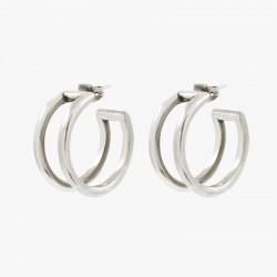 Boucles d'oreilles créoles tout métal - Double anneaux arrondis designs