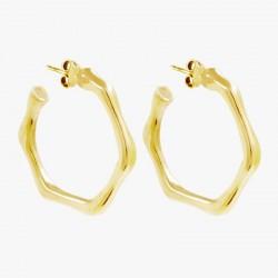 Boucles d'oreilles créoles Doré  CXC- Anneaux saccadés designs