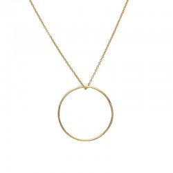 LuckyTeam - Collier court chaîne & pendentif anneau doré