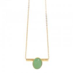 Collier choker Or Liapades - Tube et médaillon ovale Aventurine vert d'eau