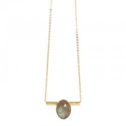 Lovely Day Bijoux - Collier choker Or Liapades - Tube & médaillon ovale Labradorite