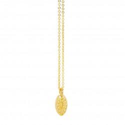 Lovely Day Bijoux - Collier choker chaîne Or Nova - Pendentif ovale gravé design
