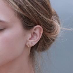 Anneau piercing plaqué or ciselé Ode - Bdm Studio