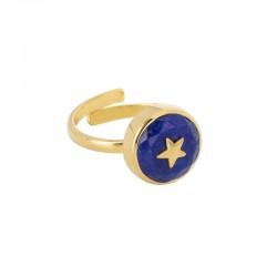 Bague fine ajustable Or UNE A UNE - Lapis Lazuli & Etoile dorée