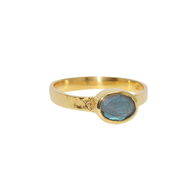 LuckyTeam - Bague fine Or - Labradorite ovale & facettée