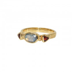 LuckyTeam - Bague fine Or - Labradorite ovale & Grenats
