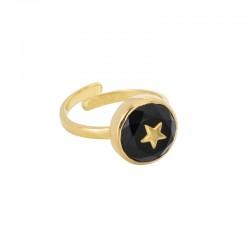 Bague Joli Coeur ajustable Or UNE A UNE - Onyx Noir & Etoile dorée