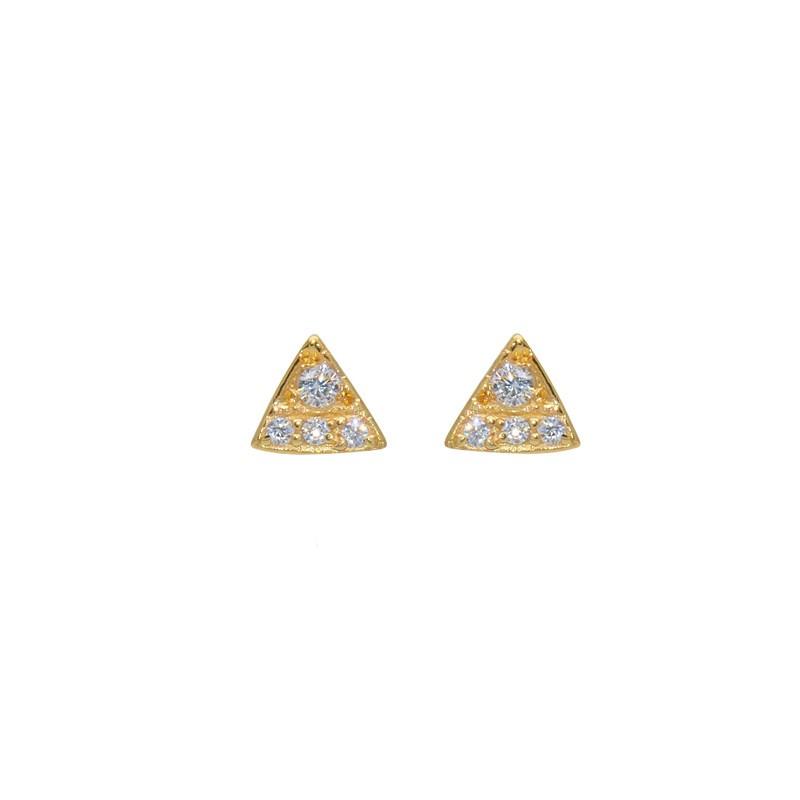 LuckyTeam - Boucles d'oreilles Puces dorées - Triangles & Zircons blancs