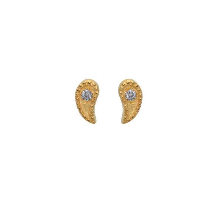 LuckyTeam - Boucles d'oreilles Puces dorées - Gouttes & Zircons blancs