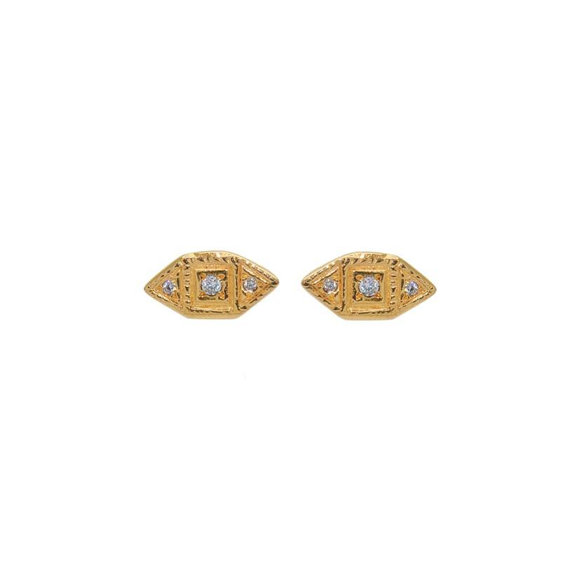 LuckyTeam - Boucles d'oreilles Puces dorées - Losanges & Zircons blancs