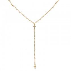 """Collier chaîne dorée """"Y"""" - Perles blanches & Croix zircons blancs"""