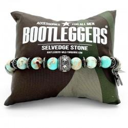 Bracelet homme élastiqué SONORA étain - Stone turquoise & Perle étoile