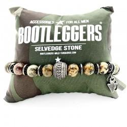 Bracelet homme élastiqué BOOTLEGGERS SONORA étain - Stone beige & Perle gravée