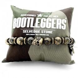 Bracelet homme élastiqué SONORA laiton - Perles dorées & Tête de mort