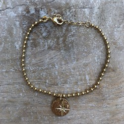 Bracelet Bola Etoile - Chaîne boules dorée & médaille dorée design