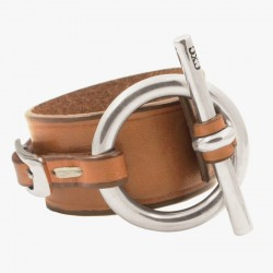 CXC - Bracelet Manchette  métal cuir camel - Ceinture & Mors équin