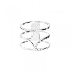 DORIANE BIJOUX - Bague large spirale en argent ciselé effet diamanté - Midnight
